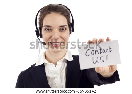 Smiling customer service woman holding a card- Contact Us! isolated on white background - stock photo