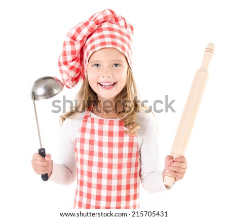 Smiling cute little girl in chef hat with ladle and  rolling pin isolated on a white - stock photo