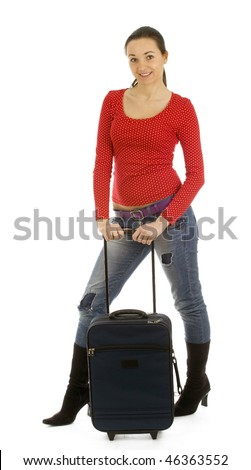 smiling dark hair young woman with suitcase - stock photo