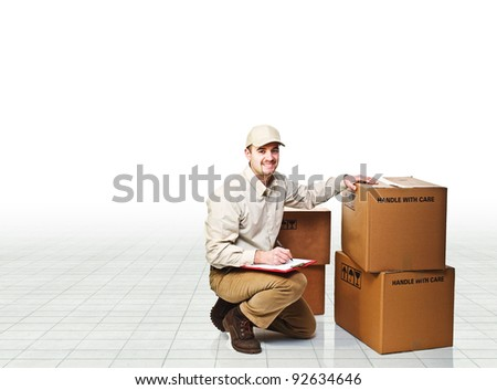 smiling delivery man at work
