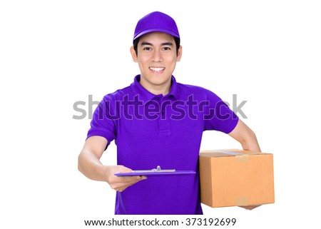 Smiling delivery man giving clipboard on white background - stock photo
