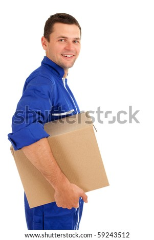 smiling delivery man in blue overalls with box