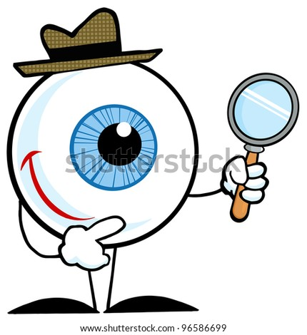 Smiling Detective Eyeball Holding A Magnifying Glass - stock photo