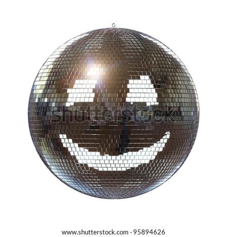 smiling disco ball on isolated white background - stock photo