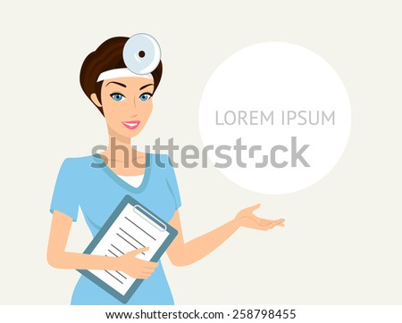 Smiling doctor otolaryngologist with a folder in her left hand demonstrates something - stock photo