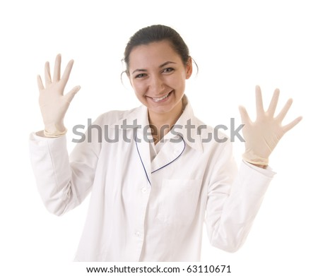 Smiling doctor protective gloves isolated on white background - stock photo