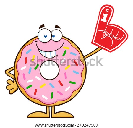 Smiling Donut Cartoon Character With Sprinkles Wearing A Foam Finger. Raster Illustration Isolated On White - stock photo