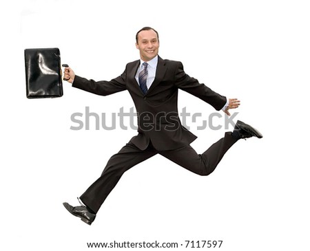 smiling dynamic businessman running with briefcase isolated on white