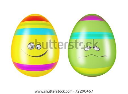 Smiling easter eggs - stock photo