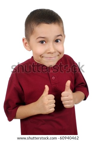 Smiling eight-year-old boy giving thumbs up sign, isolated on pure white background - stock photo