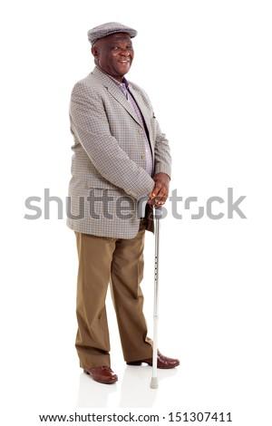 smiling elderly african man holding walking cane isolated on white - stock photo