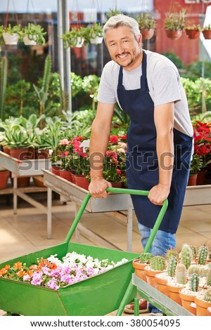 Smiling elderly man working in a garden center