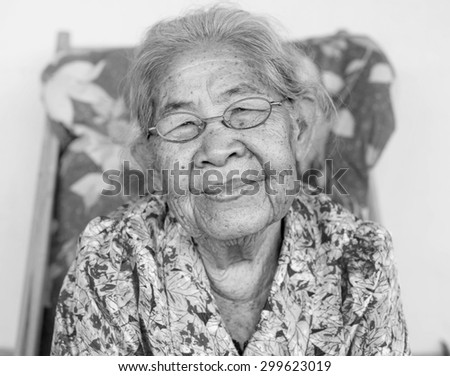 Smiling elderly people ,asian of smile ,thailand,monochrome. - stock photo