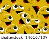 Smiling emoticons. Seamless pattern. - stock