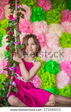 smiling emotional cute adorable baby girl portrait in flowers art beauty - stock photo