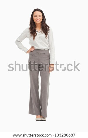 Smiling employee against white background