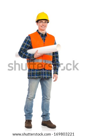 Smiling engineer holds paper roll under his arm. Full length studio shot isolated on white.