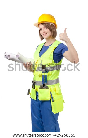 smiling engineer or architect female in yellow helmet and reflective vest with blueprints showing thumb up isolated on white background. proposing service. advertisement gesture - stock photo