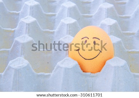 smiling face Eggs in brown paper box - stock photo