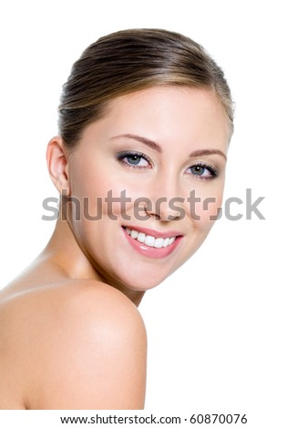 Smiling face of a attractive woman with health whitest teeth - stock photo