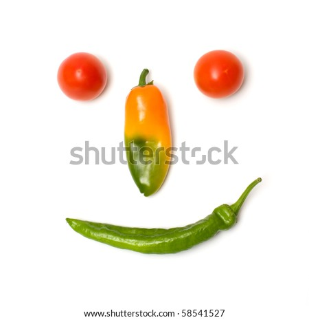 Smiling face of fresh vegetables isolated on a white background. - stock photo