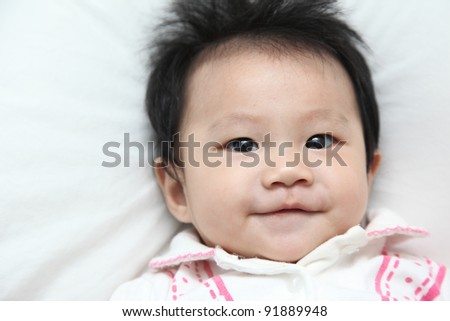 Smiling face of healthy baby about 6 months on white background - stock photo
