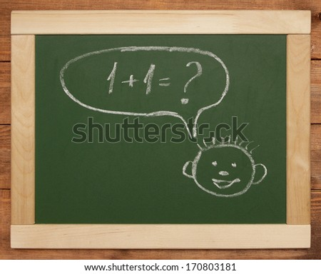 smiling face with thought bubbles - stock photo