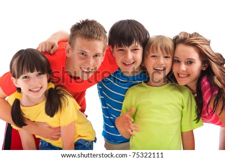Smiling faces of several happy children.  White background - stock photo