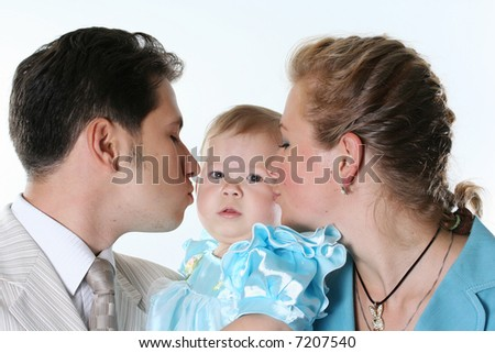 smiling family child isolated white happiness parent - stock photo