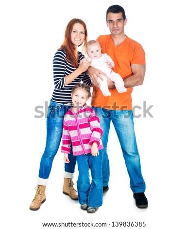 smiling family isolated on white background - stock photo