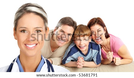 Smiling family medical doctor and family. Over white background - stock photo