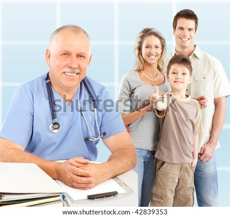 Smiling family medical doctor and young family. Over blue background