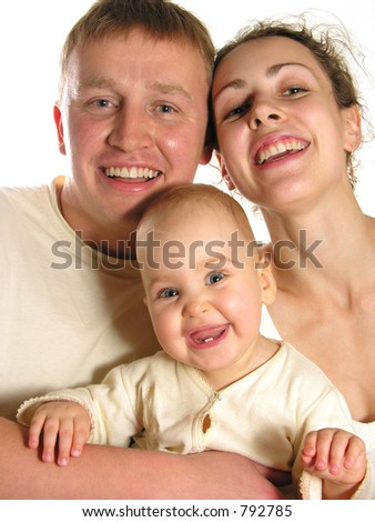 smiling family of three