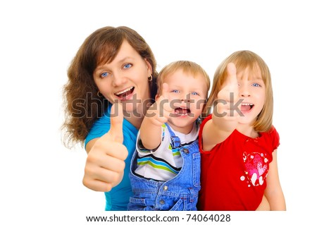 Smiling family showing thumb up - stock photo