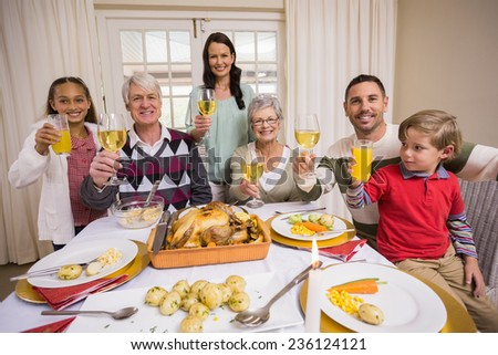 Smiling family toasting to camera during christmas dinner at home in the living room