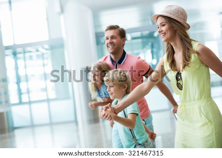 Smiling family with children  - stock photo