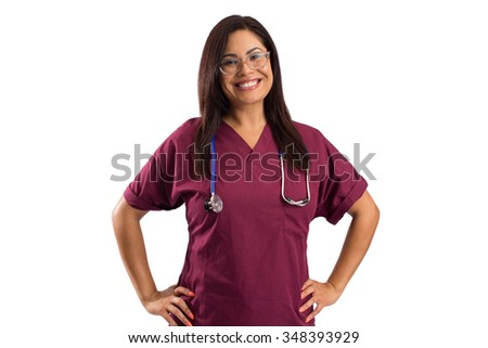 Smiling family woman doctor with stethoscope. Health care - isolated white background - stock photo