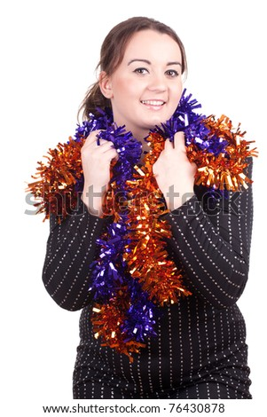 smiling fat young woman and Christmas chains - stock photo