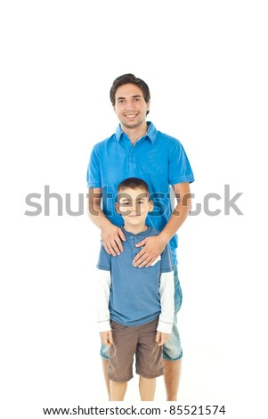 Smiling father and his son standing together against white background,selective focus on kid - stock photo