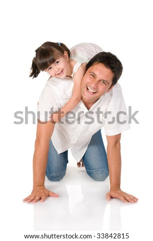 Smiling father carrying on his shoulders his little daughter isolated on white background - stock photo