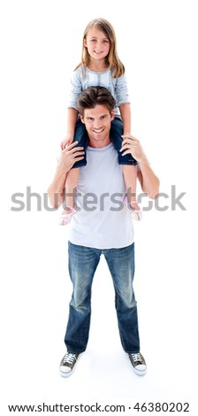 Smiling father giving his daughter piggyback ride against a white background