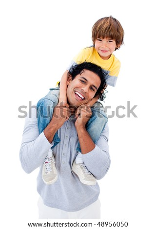 Smiling father having fun with his son against a white background - stock photo