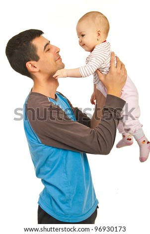 Smiling father holding his daughter baby isolated onw hite background - stock photo