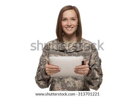 Smiling Female American Soldier with tablet on white background. - stock photo