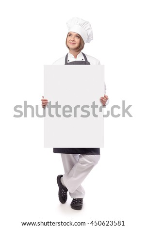 smiling female chef, cook or baker looking up and holding blank board with empty copy space for you text isolated on white background. advertisement banner. your text here