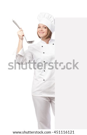 smiling female chef, cook or baker with ladle hiding behind banner with empty copy space for you text isolated on white background. advertisement blank board. your text here