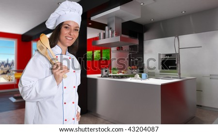 Smiling female chef in a modern red and black kitchen