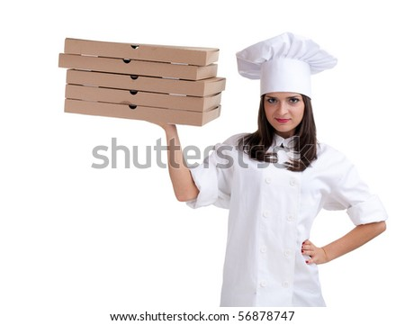 smiling female chef in white uniform and hat with boxes of pizza