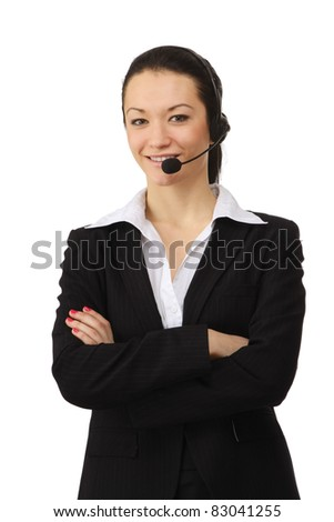 Smiling female customer service operator with folded arms. Isolated on white background. - stock photo