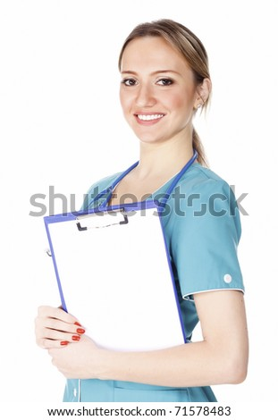 Smiling female doctor holding a clipboard against white background.